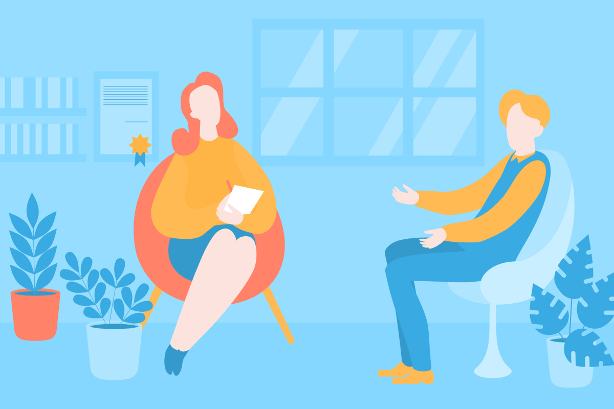 Flat psychologist office, patient having individual psychological therapy and counselling with therapist. Psychotherapy session. Mental health, healthcare and psychology. Psychiatrist consultation